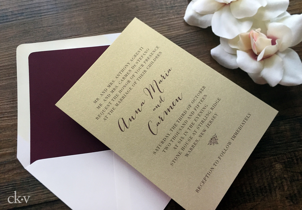 Rustic and elegant champagne gold, ivory and wine wedding invitation by Catherine Kiff-Vozza, Couture Stationer