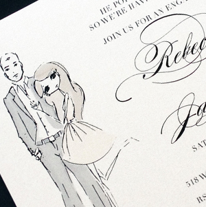 custom fashion illustrated engagement party invitation with crystal ring