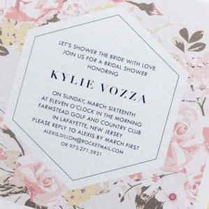 PINK FLOWER WEDDING SHOWER INVITATION