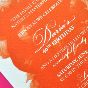 orange watercolor party invitation