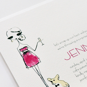 custom bridal shower invitation with fuchsia fashion illustration and french bulldog