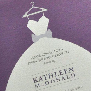 purple bridal shower invitation with dress