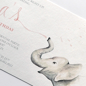 custom watercolor illustrated pink carnival invitation with elephant and ticket detail, hand lettering