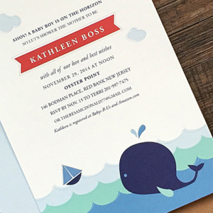 boy's baby nautical baby shower invitation with whale and sailboat