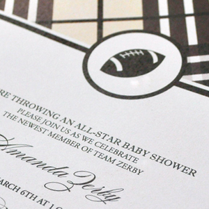 boy's plaid football baby shower invitation
