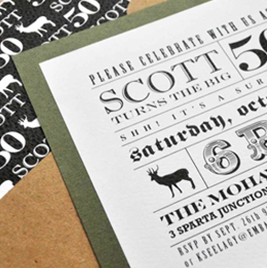 modern masculine rustic deer hunter invitation for a 50th birthday