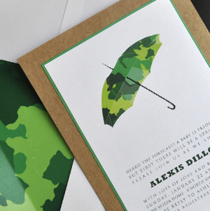 Green camouflage baby shower invitation with umbrella