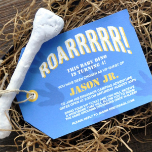 custom dinosaur invitation with bone and ticket