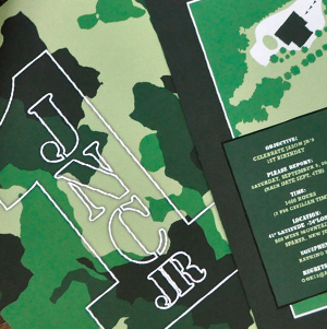 custom army camouflage birthday party invitation with map