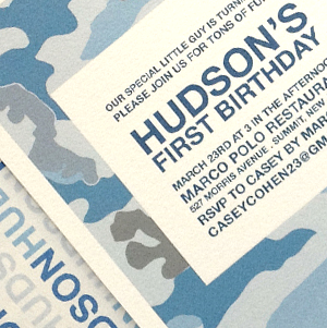 Blue camouflage boy's first birthday party invitation