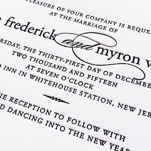 modern black and white letterpress New Year's Eve wedding invitation suite
