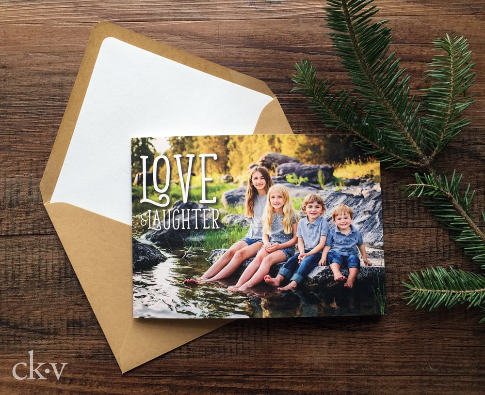 Custom rustic folded christmas photo card