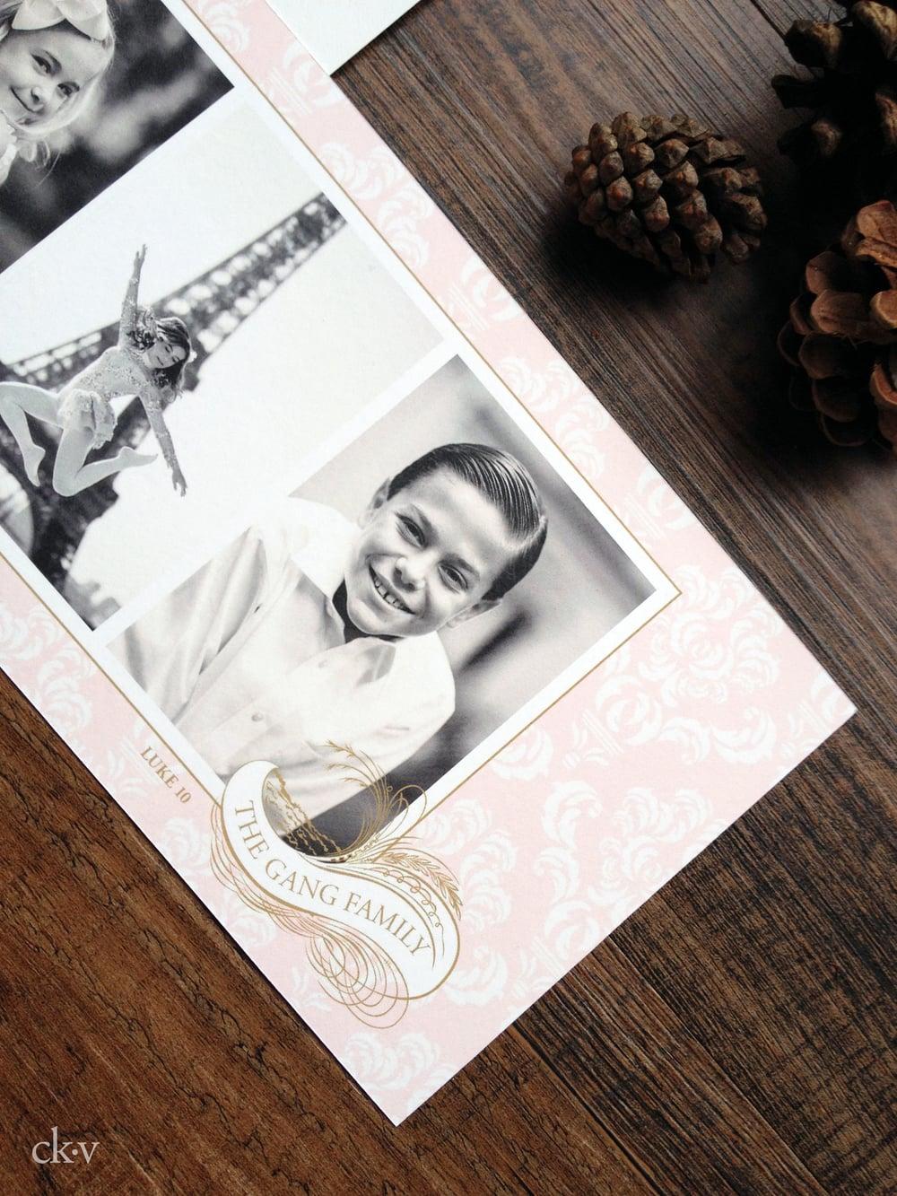 custom pink and gold elegant damask Christmas photo card