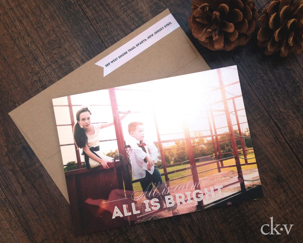 custom modern watercolor and hexagon christmas photo card