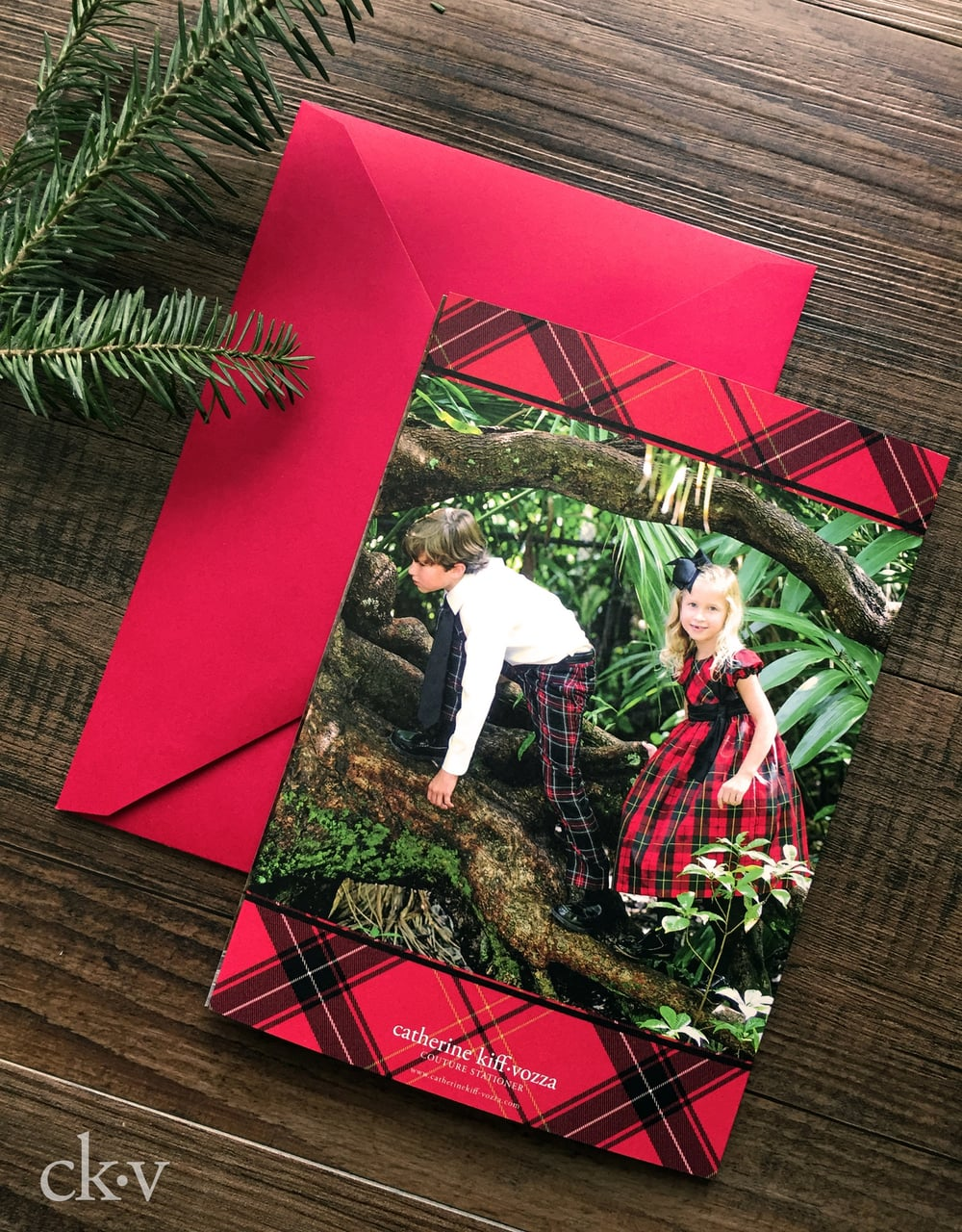 custom red and black plaid trifold christmas photo card
