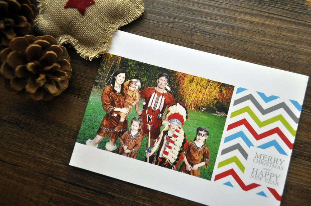 custom chevron christmas photo card