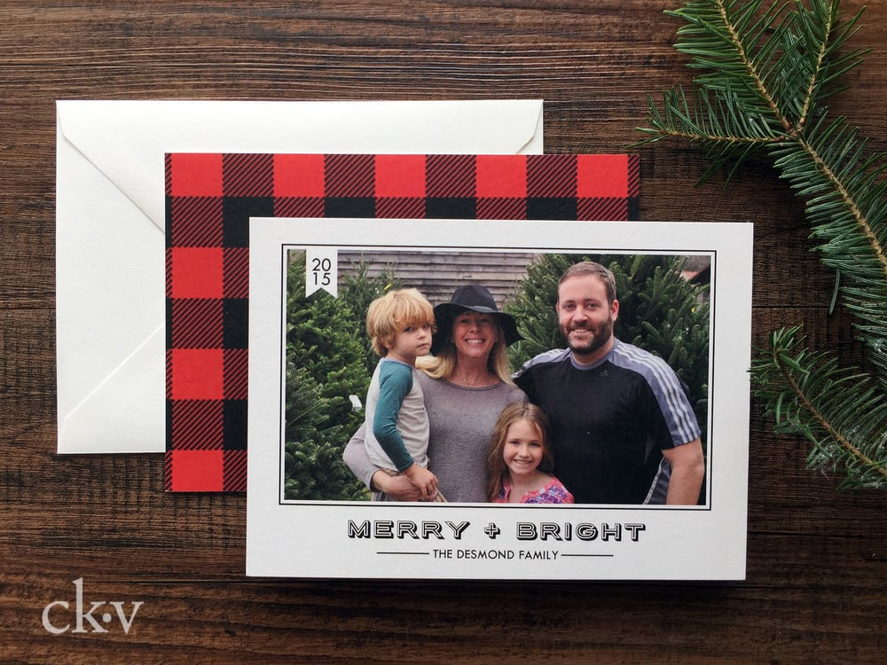 Custom HIPSTER BUFFALO PLAID holiday photo card