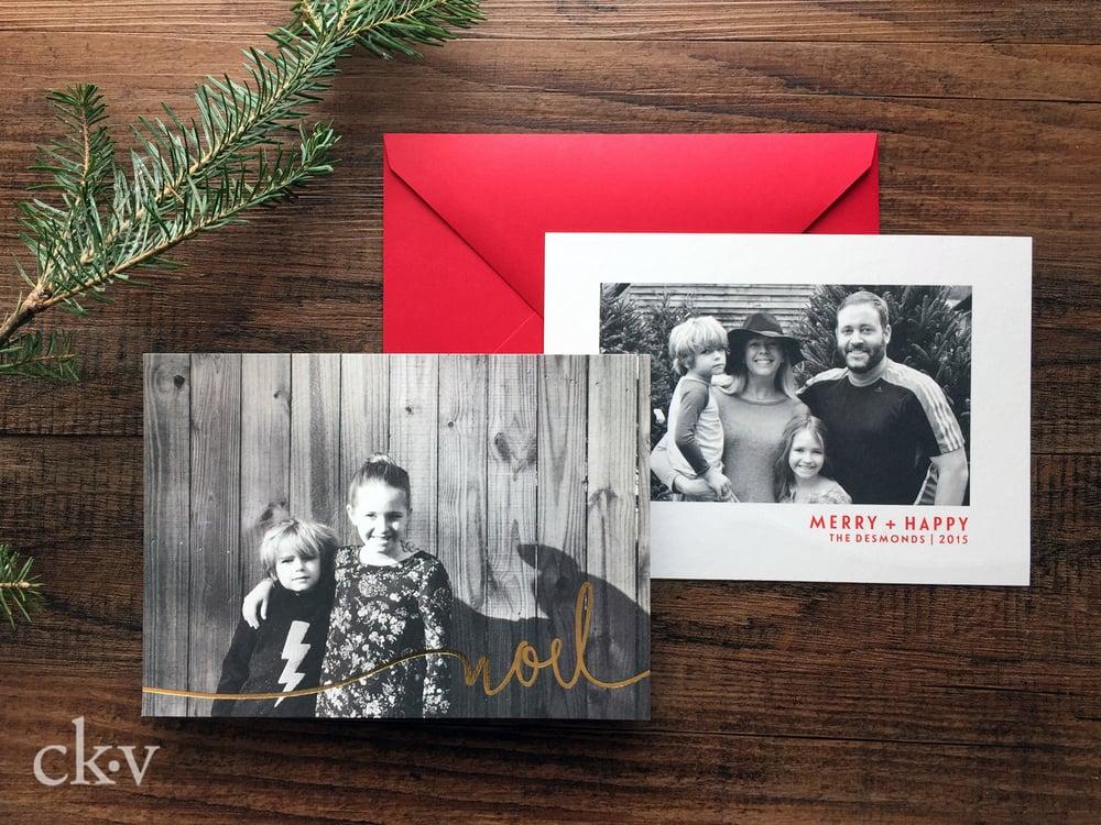 Custom gold foil noel christmas photo card