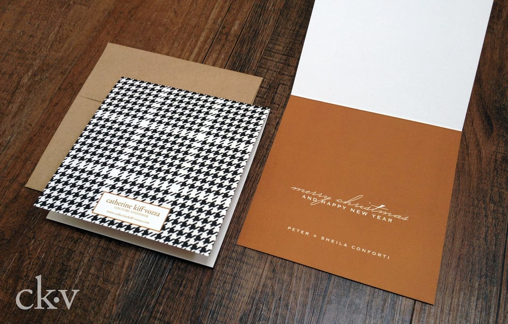Custom houndstooth and copper modern christmas photo card