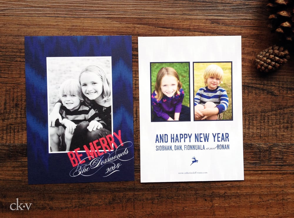 Denim blue and fuchsia ikat custom Christmas photo card