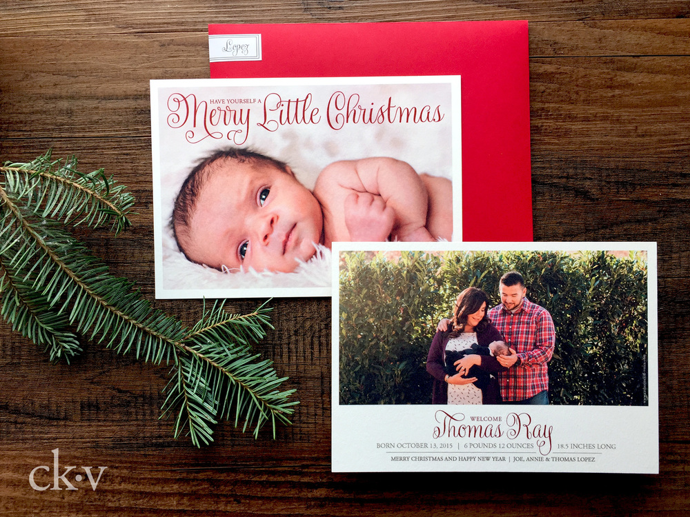 modern christmas red baby's birth announcement with photo and wrap around label