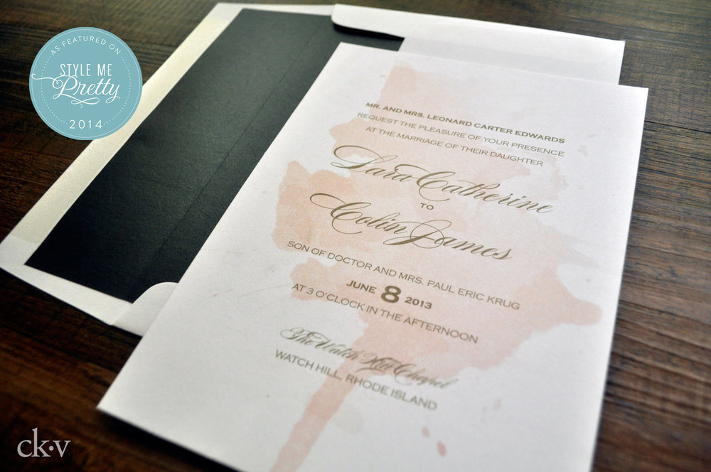 Blush wine stained Wedding invitation suite for chic NYC couple's rustic vineyard wedding