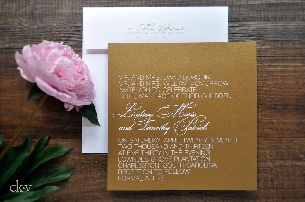 Chic antique gold invitation with white foil for a Southern destination wedding