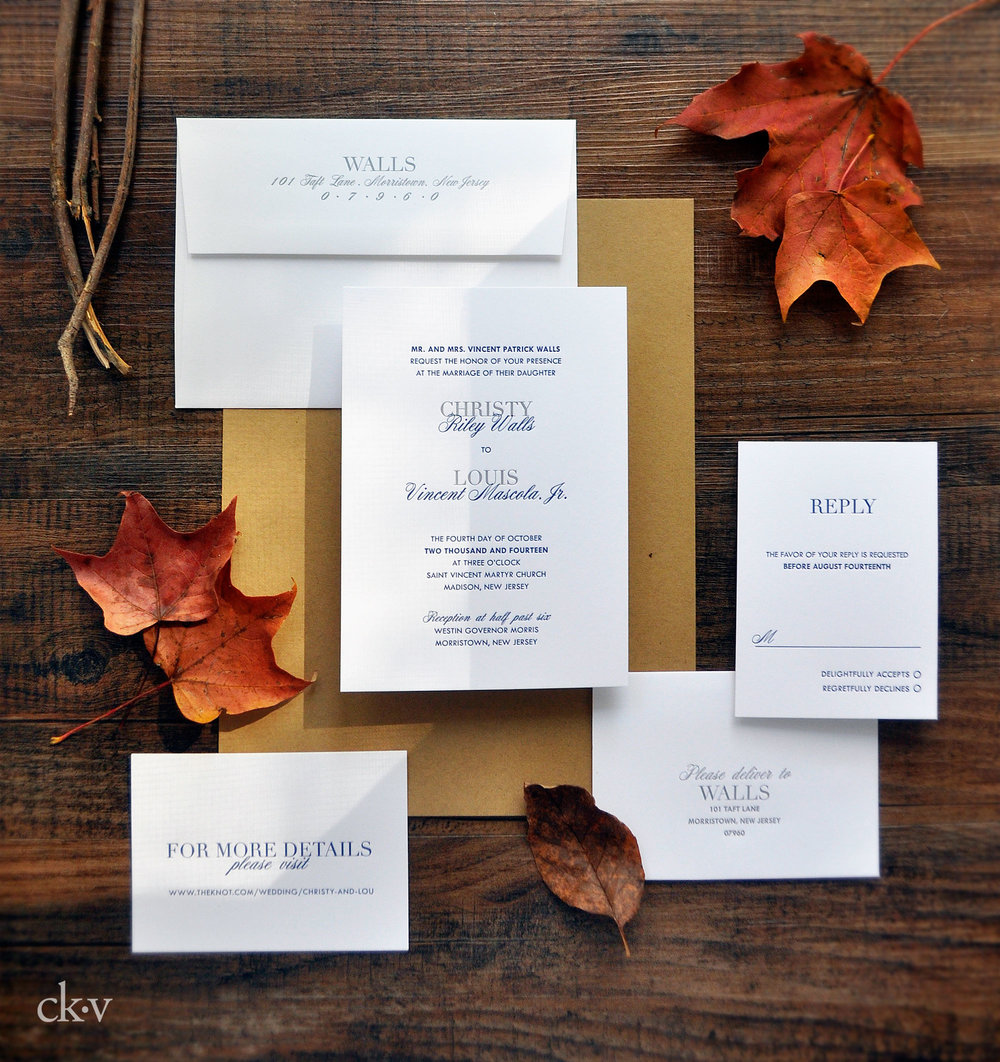 Elegant but casual letterpress wedding invitation suite on cotton rag.
