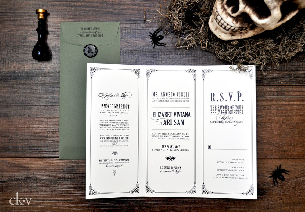 Gothic Halloween wedding trifold wedding invitation with tear off reply card and wax seal closure.