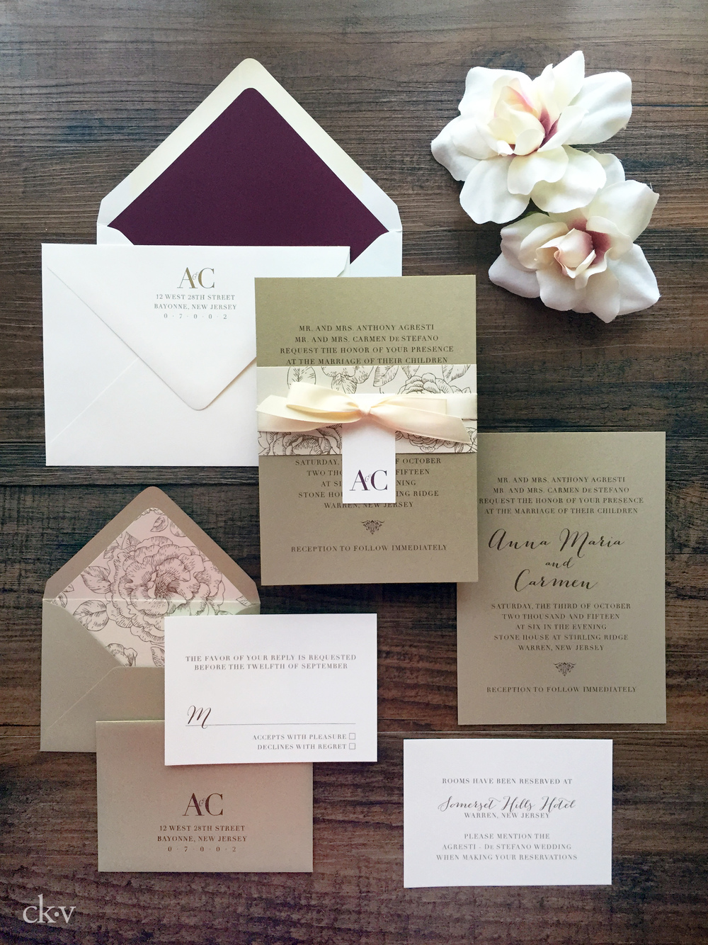 Rustic chic wedding invitation suite with custom monogram and antique gold rose envelope liners.