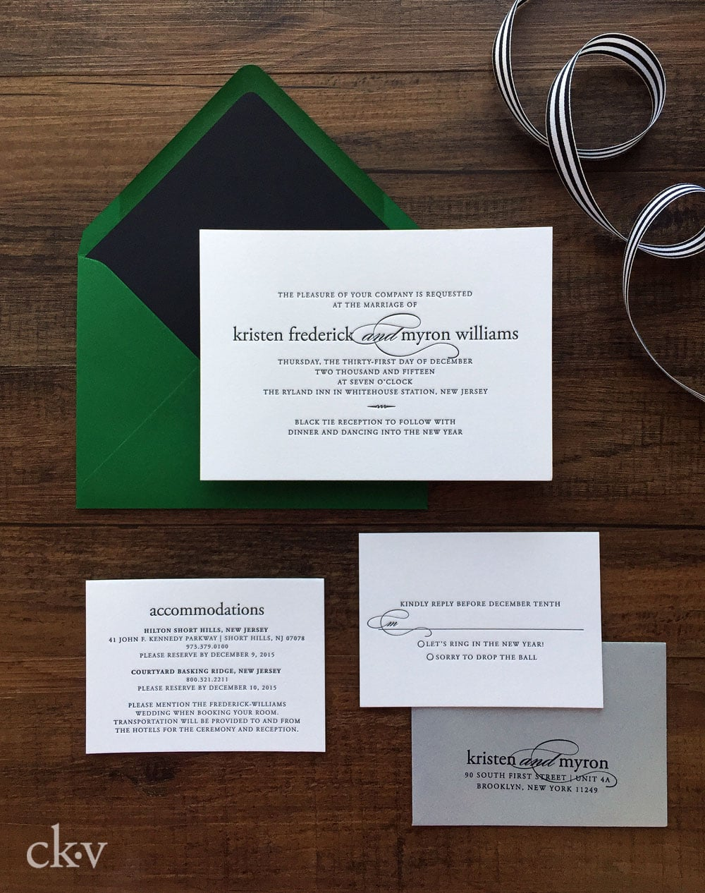 Modern ultra thick letterpress wedding invitation suite for a modern couple's NYE wedding.