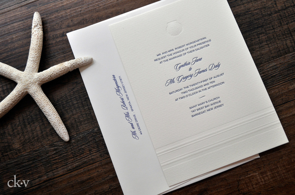 Nautical letterpress wedding invitation suite on ivory cotton rag with double envelopes.