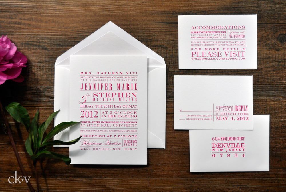 Modern fuchsia wedding invitation suite for an artistic couple.