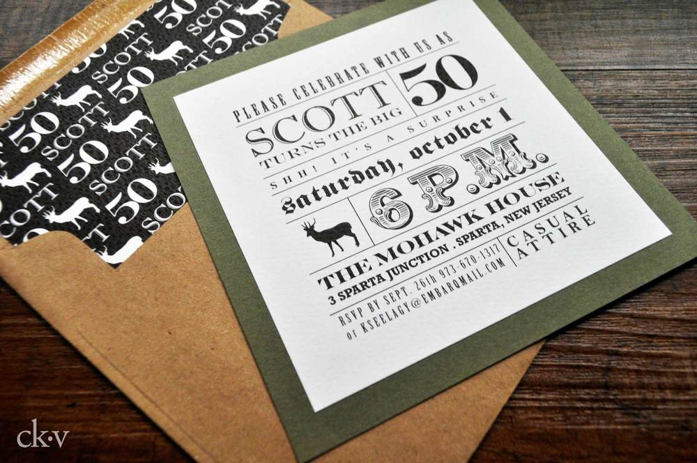Masculine layered invitation with custom liners for a hunting themed party.