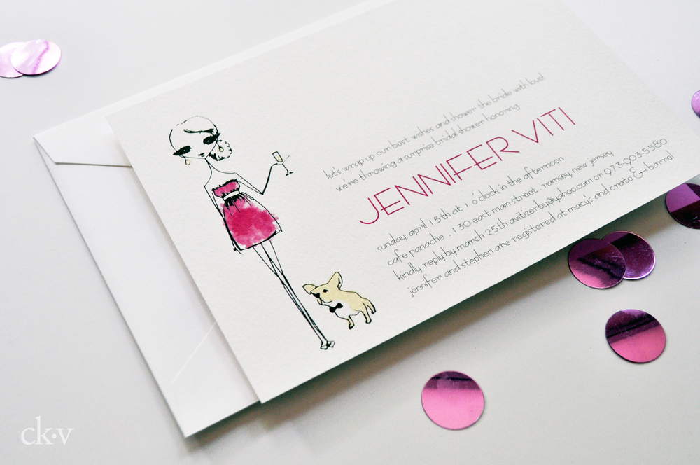 Custom illustrated invitation features the bride, her wedding colors and her beloved dog!