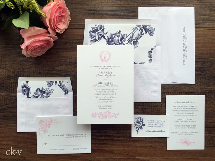 Equestrian and vintage rose inspired wedding invitation suite with woodgrain envelopes that reflect the wood clad location.