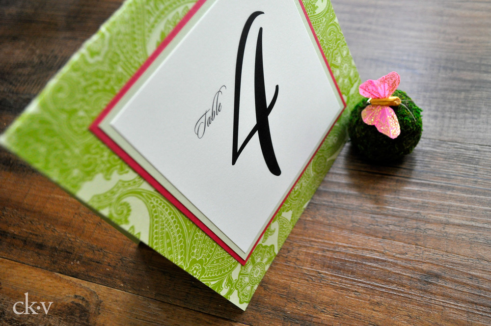 Custom table numbers for a preppy Summer wedding.