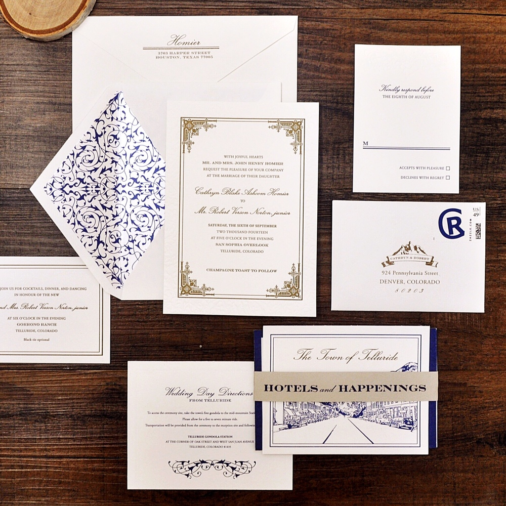 Two color letterpress invitation suite for a destination wedding in Telluride, features blind letterpress, mountain logo, intricate custom pattern, fold out weekend of events and gold accents.
