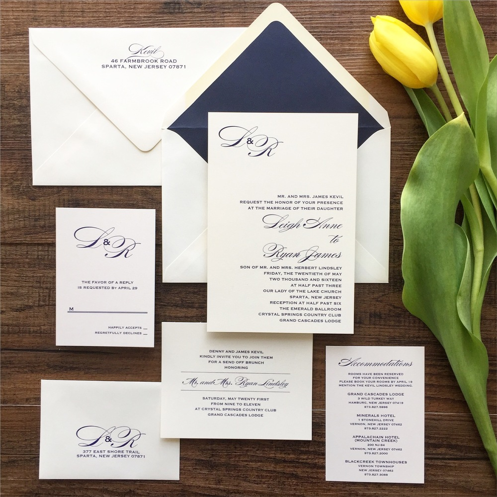 Simple and elegant 6x8 wedding invitation suite in navy thermography