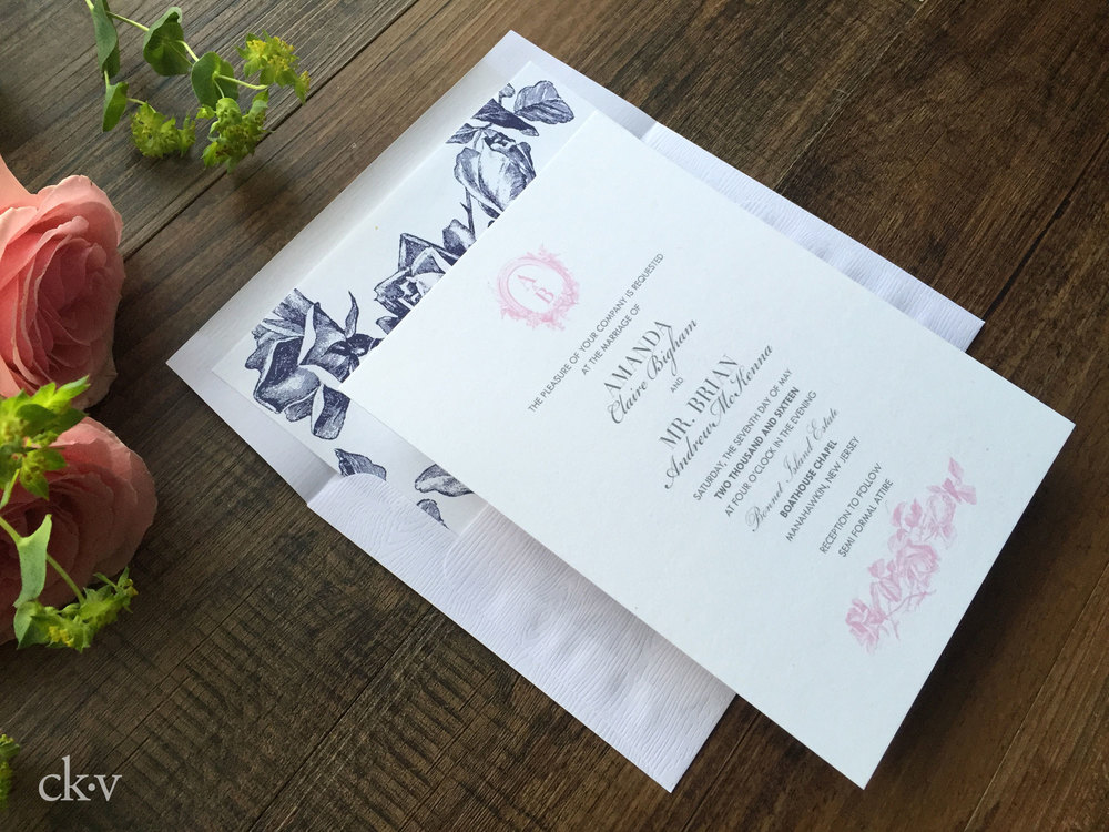 pink and navy vintage floral equestrian wedding invitations with horseshoe monogram