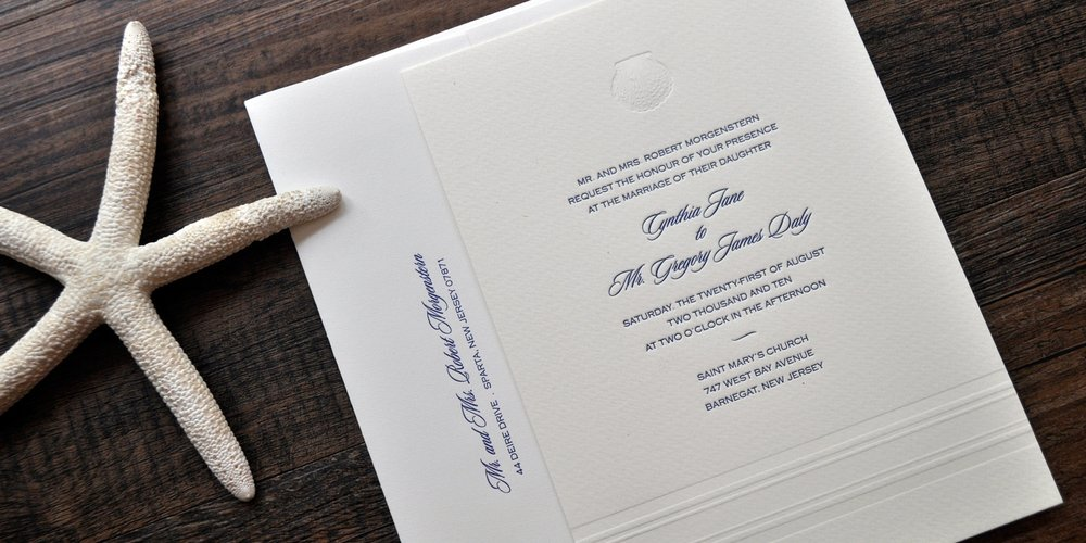 nautical shell letterpress wedding invitations