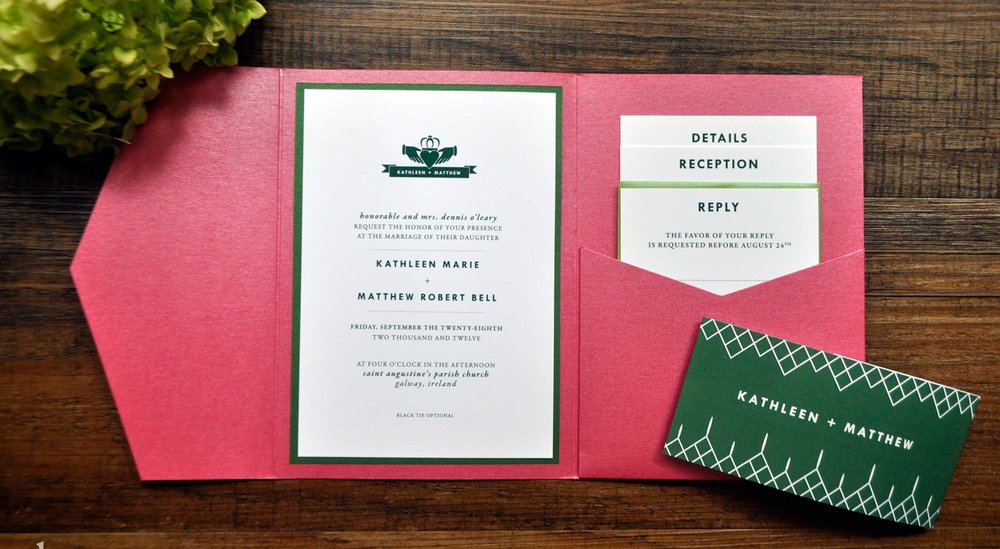 Irish Claddagh Pocket wedding invitations
