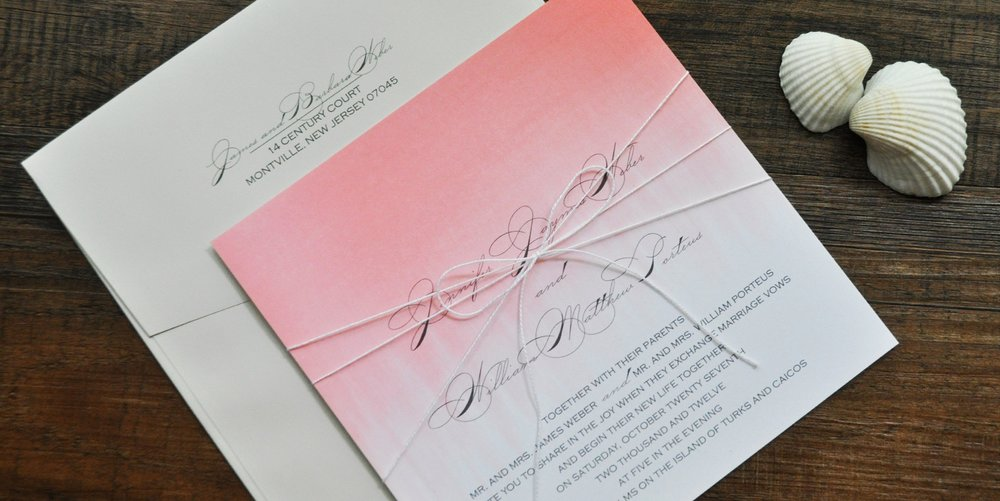 blush ombre square wedding invitation