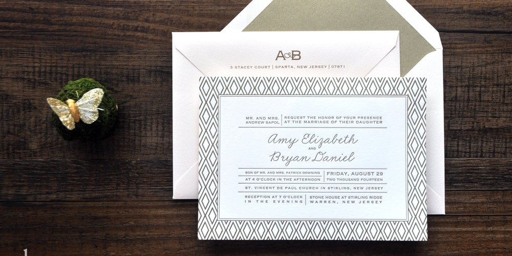 Rustic letterpress gold geometric wedding invitation with blush pink, navy ribbon and wood grain accents