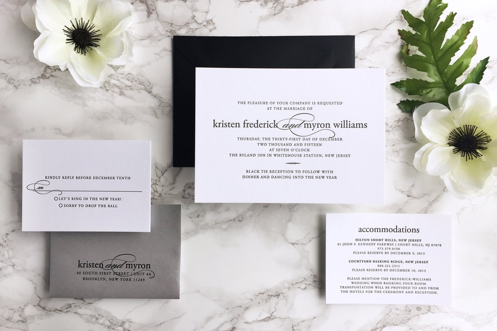 MODERN MINIMAL BLACK AND WHITE LETTERPRESS WEDDING INVITATION BY CATHERINE KIFF-VOZZA