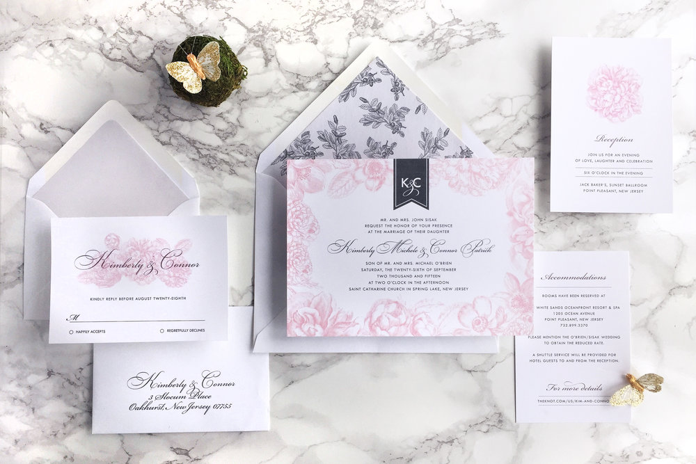 SPRING PINK AND GRAY FLORAL WEDDING INVITATION SUITE BY CATHERINE KIFF-VOZZA