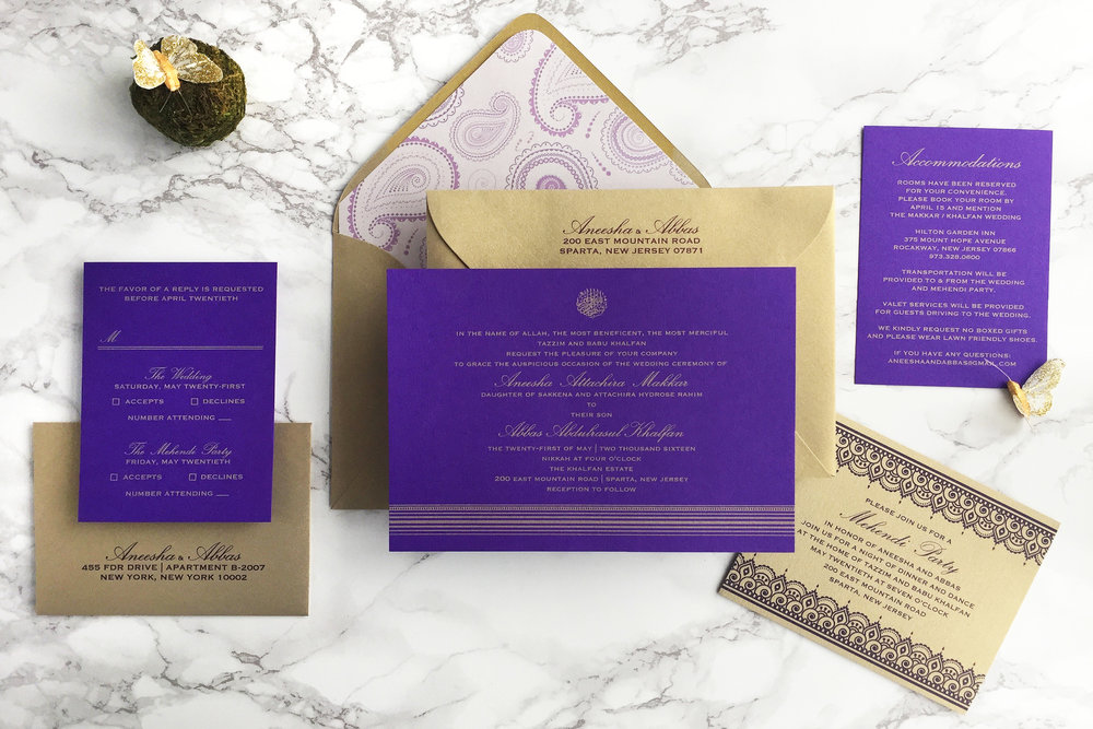 PURPLE AND GOLD INDIAN MUSLIM WEDDING INVITATION BY CATHERINE KIFF-VOZZA