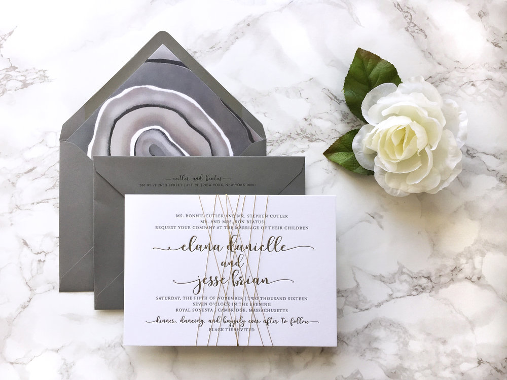 modern gray and gold agate wedding invitation suite