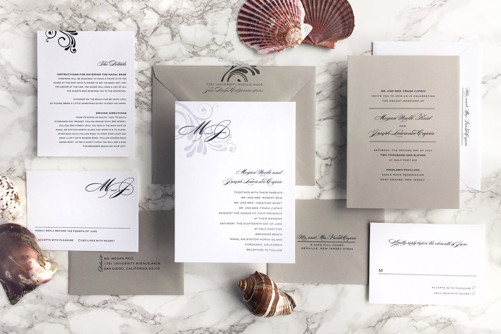 modern ocean wedding invitation suite