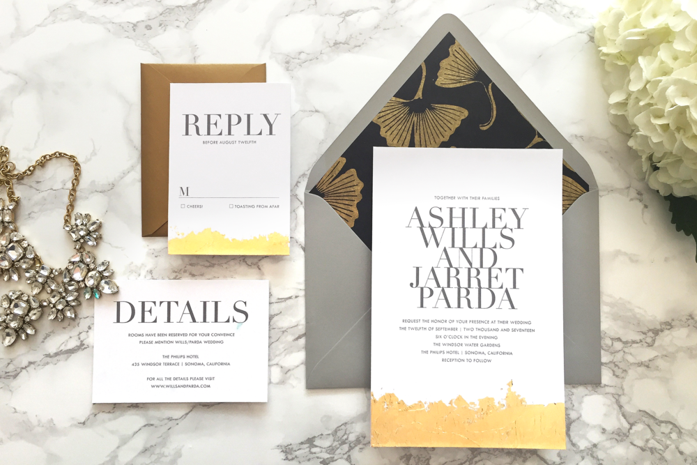 Custom gold leaf and gray modern wedding invitation suite